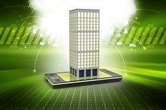 illustrazione 3d di costruzione con lo Smart Phone Fotografie Stock