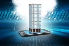 illustrazione 3d di costruzione con lo Smart Phone Fotografia Stock