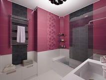 Illustrazione 3D Di Interior Design Di Un Bagno Rosa Illustrazione ...