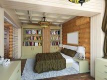 illustrazione 3D di interior design di una camera da letto nella casa per Immagini Stock Libere da Diritti