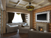 illustrazione 3D di interior design di una camera da letto nella casa per Fotografia Stock Libera da Diritti