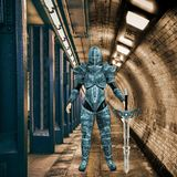 illustrazione 3D di Ninja urbano femminile Warrior nel circondare lunatico illustrazione di stock