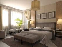 illustrazione 3D di progettazione di un bagno nel colore marrone e beige Immagine Stock