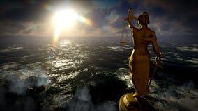 Illustrazione 3d di Themis in tribunale Fotografia Stock Libera da Diritti
