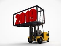 illustrazione 3D di un carrello elevatore che ha sollevato un contenitore con una data del nuovo anno 2019 L'idea per un calendar illustrazione vettoriale