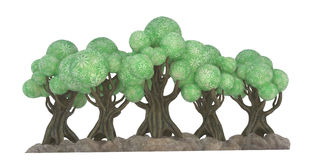 illustrazione 3D di un cartoony degli alberi Fotografia Stock Libera da Diritti