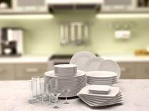 illustrazione 3d di un insieme dei piatti e dei vetri bianchi Fotografia Stock Libera da Diritti