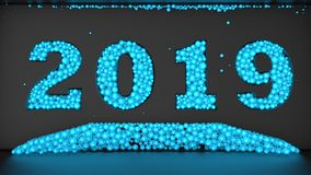 illustrazione 3D di un insieme delle palle che formano la data 2019 L'idea di una festa, di un Natale e di una gioia del nuovo an illustrazione vettoriale