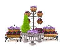 illustrazione 3d di un letto di fiore della via su un fondo bianco Immagini Stock Libere da Diritti