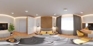 illustrazione 3d di un panorama senza cuciture 360 DES interno della camera da letto royalty illustrazione gratis