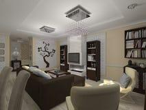 illustrazione 3D di un salotto e di una cucina in eclectici di stile Immagini Stock