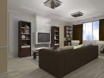 illustrazione 3D di un salotto e di una cucina in eclectici di stile Fotografia Stock