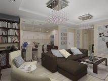 illustrazione 3D di un salotto e di una cucina in eclectici di stile Fotografie Stock