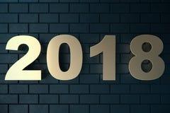 illustrazione 3d di un testo dorato su un fondo nero con la riflessione sul pavimento testo 3d 2018 buoni anni oro Fotografia Stock