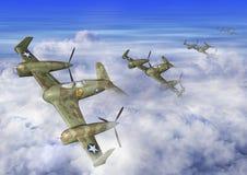 illustrazione 3D di un volo futuristico dello squadrone dell'aeroplano nelle nuvole illustrazione di stock