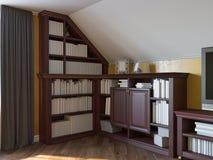 illustrazione 3d di una biblioteca domestica sul pavimento della soffitta di una casa privata royalty illustrazione gratis
