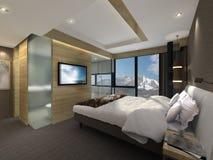 illustrazione 3D di una camera da letto moderna Fotografie Stock