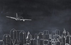 illustrazione 3D di una città e di un aereo Immagini Stock Libere da Diritti