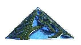 illustrazione 3D di una costruzione verde futuristica fotografia stock