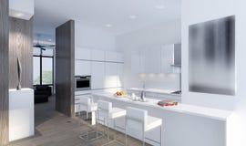 illustrazione 3D di una cucina moderna Fotografia Stock Libera da Diritti
