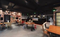 illustrazione 3d di una mensa di stile del sottotetto Fotografia Stock