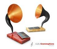 illustrazione 3d di vecchi grammofoni d'annata Concetto mobile dei apps Immagine Stock