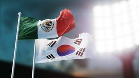 illustrazione 3D Due bandiere nazionali che ondeggiano sul vento Stadio di notte Campionato 2018 Calcio Il Messico contro la Core Fotografia Stock