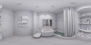 illustrazione 3d 360 gradi di panorama del bagno Fotografia Stock