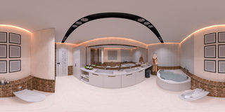 illustrazione 3d 360 gradi di panorama del bagno Immagine Stock