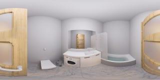 illustrazione 3d 360 gradi di panorama dell'interno del bagno Immagine Stock Libera da Diritti