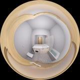 illustrazione 3d 360 gradi di panorama dell'interno del bagno Fotografia Stock Libera da Diritti