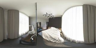 illustrazione 3d 360 gradi di panorama della camera da letto Fotografia Stock