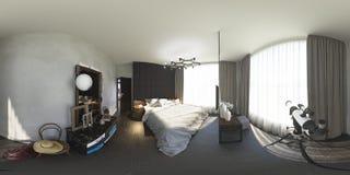 illustrazione 3d 360 gradi di panorama della camera da letto Fotografie Stock Libere da Diritti