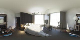 illustrazione 3d 360 gradi di panorama della camera da letto Fotografie Stock