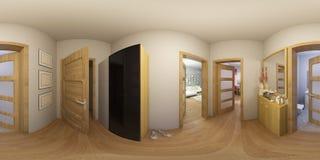 illustrazione 3d 360 gradi di panorama di interior design del corridoio Immagine Stock