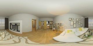 illustrazione 3d 360 gradi di panorama di progettazione di nterior del salone Immagini Stock Libere da Diritti