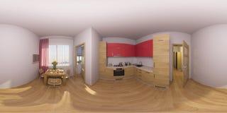 illustrazione 3d 360 gradi di panorama di un interno della cucina Fotografia Stock