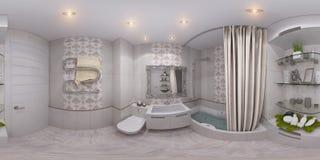 illustrazione 3d 360 gradi, panorama senza cuciture del bagno Immagine Stock