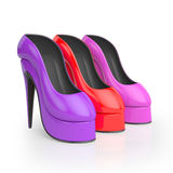 illustrazione 3D Gruppo di scarpe delle donne colorate Immagine Stock