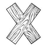 Illustrazione d'incisione di vettore della lettera X di legno Fotografia Stock Libera da Diritti