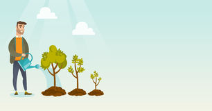 Illustrazione d'innaffiatura di vettore degli alberi della donna di affari Immagine Stock Libera da Diritti