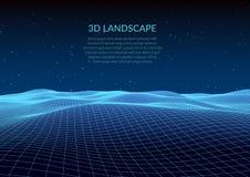 illustrazione 3D Paesaggio astratto su un fondo bianco Griglia del Cyberspace illustrazione di stock