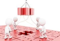 illustrazione 3D Team-building di affari un puzzle di puzzle Immagini Stock