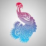 Illustrazione decorativa del pavone Fotografie Stock