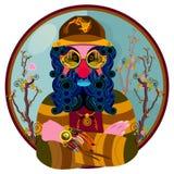 Illustrazione decorativa dell'uomo barbuto nel cerchio Fotografie Stock