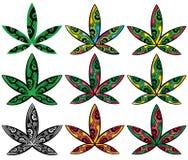 Illustrazione decorativa di simbolo della foglia di stile di ganja della marijuana della cannabis Fotografie Stock Libere da Diritti