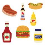Illustrazione degli alimenti e dei condimenti della griglia di picnic di vettore fotografia stock libera da diritti