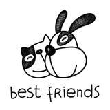 Illustrazione degli amici del gatto e del cane di vettore illustrazione di stock