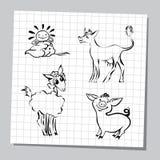 Illustrazione degli animali da allevamento messi Immagini Stock