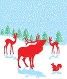 Illustrazione degli animali della foresta su neve Immagini Stock Libere da Diritti